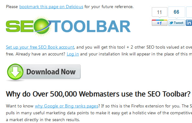 SEO Toolbar Download page