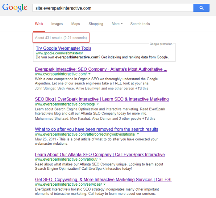 How many pages are indexed on Google?